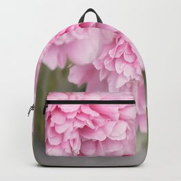 Pink Peonies On A Green And Grey Background #society6 #buyart Backpack