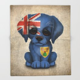 Cute Puppy Dog with flag of Turks and Caicos Throw Blanket