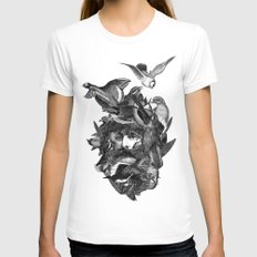 Scarecrow MEDIUM White Womens Fitted Tee