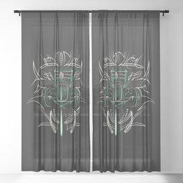 Hot Rod Pinstriping Sheer Curtain
