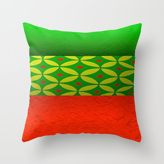Red Green Throw Pillow : Red and Green and Circles Throw Pillow by Saundra Myles Society6