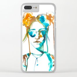 Colorful grunge girl Clear iPhone Case