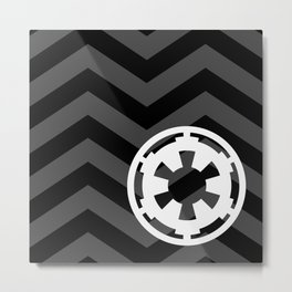Imperial Cog and Chevrons in White Black and Gray Metal Print