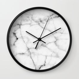 Pure White Real Marble Dark Grain All Over Wall Clock
