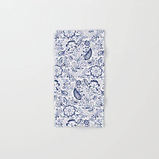 Folk Floral Indigo Hand & Bath Towel