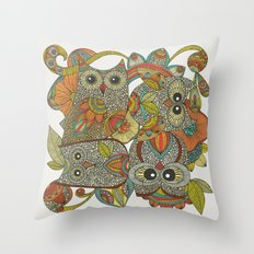 4 Owls Throw Pillow