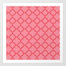 Quatrefoil - Pink & Red  Art Print