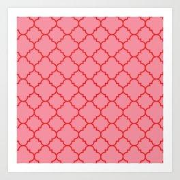Quatrefoil - Pink & Red  Art Print