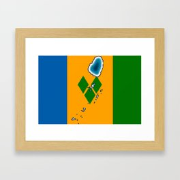 St Vincent and the Grenadines Flag with Island Maps Framed Art Print