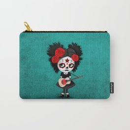 Day of the Dead Girl Playing Japanese Flag Guitar Carry-All Pouch