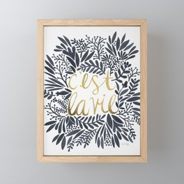 C'est la Vie – Grey & Gold Framed Mini Art Print