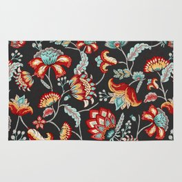 Red and Light Blue Indian Floral in Dark Gray Rug