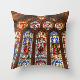 Stained Glass Abbey Window Throw Pillow