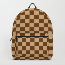 Tan Brown and Chocolate Brown Checkerboard Backpack