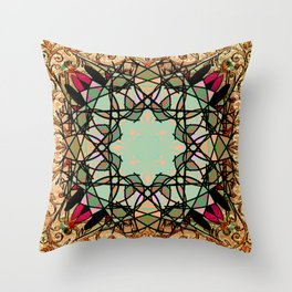 Ornate Tweed and Sage Mandala Rug Throw Pillow
