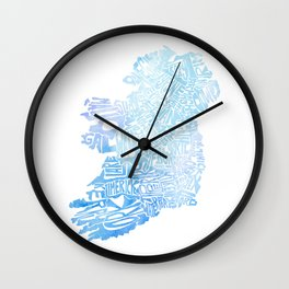 Typographic Ireland - Blue Watercolor map Wall Clock