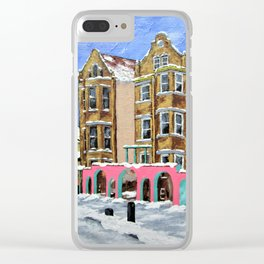On a Chicago Street Corner by Mike Kraus - art Pilsen cityscape landscape street sidewalk illinois Clear iPhone Case