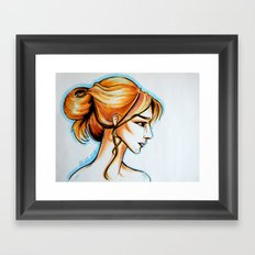 blonde girl Framed Art Print