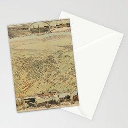 Vintage Bird's Eye Map Illustration - Bakersfield, Kern County, California (1901) Stationery Cards