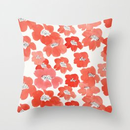 Camellia Flowers in Red Throw Pillow