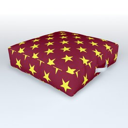 Electric Yellow on Burgundy Red Stars Outdoor Floor Cushion
