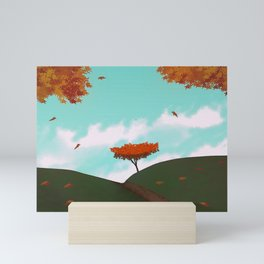 Fall/Autumn Landscape - Illustration Art #ArtofGaneneK Leaves Mini Art Print