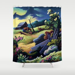 Classical Masterpiece 'June Morning, 1945' by Thomas Hart Benton Shower Curtain