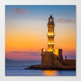 Lighthouse at the old harbour in Chania, Greece Canvas Print