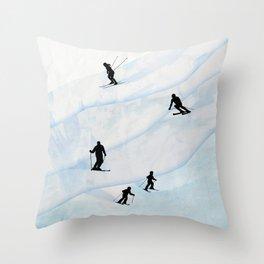 Skiing Hills Throw Pillow