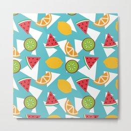 Colorful Summer Fruits Pattern Metal Print