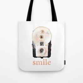 Retro Watercolor Camera SMILE! Tote Bag