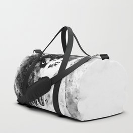 husky puppy dog watercolor splatters black white Duffle Bag