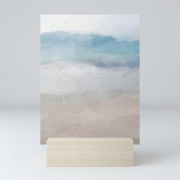 Light Aqua Blue Ocean Shore Waves Horizon Sandy Beige Beach Abstract Nature Ocean Painting Art Print Wall Decor  Mini Art Print