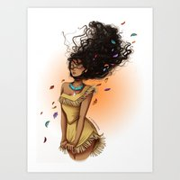 pocahontas Art Prints featuring Pocahontas by C. Cassandra