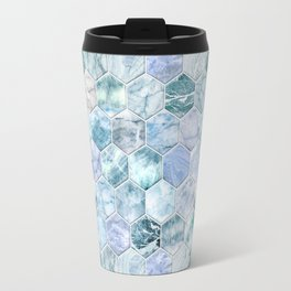 Ice Blue and Jade Stone and Marble Hexagon Tiles Travel Mug
