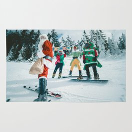 Santa Claus in the snow Rug