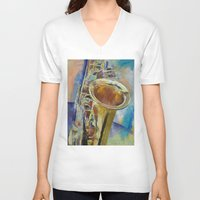 saxophone V-neck T-shirts featuring Saxophone by Michael Creese