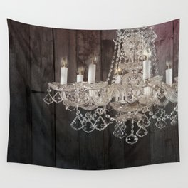rustic nature barn wood western country shabby chic chandelier art Wall Tapestry