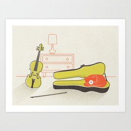 Cat & Violin Art Print