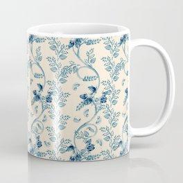 Modern Indian Strips 70s Wallpaper in blue and beige Coffee Mug