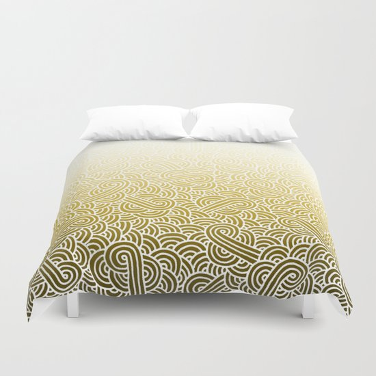 Ombre yellow and white swirls doodles Duvet Cover