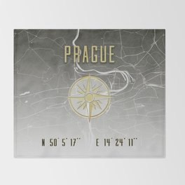 Prague - Vintage Map and Location Throw Blanket