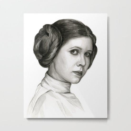 Princess Leia Watercolor Painting Carrie Fisher Portrait Metal Print