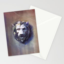 Lion Head Red Marble Stationery Cards