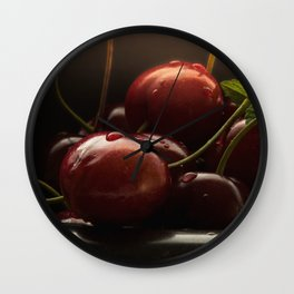 #great #crunchy #red #heart #cherries as #edles # kitchens #still #life #food #of #top class Wall Clock