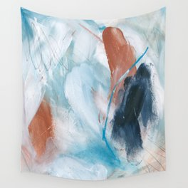 Blue and Copper Feathers Wall Tapestry