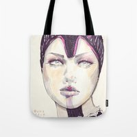fashion illustration Tote Bags featuring Fashion illustration  by Ioana Avram