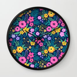 23 Amazing floral pattern with bright colorful flowers. Dark blue background. Wall Clock
