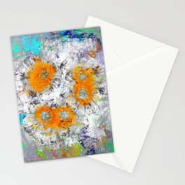 Abstract Floral Mixed Media Watercolor Ink Painting , orange & aqua Stationery Cards