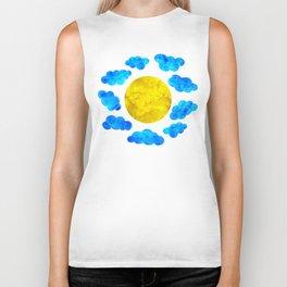 Cute blue cartoon clouds and sun. Biker Tank
